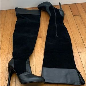 Black suede and leather over the knee boots